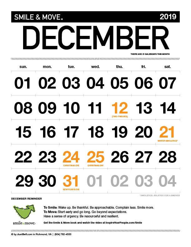 JustSell.com Monthly Calendar December 2019