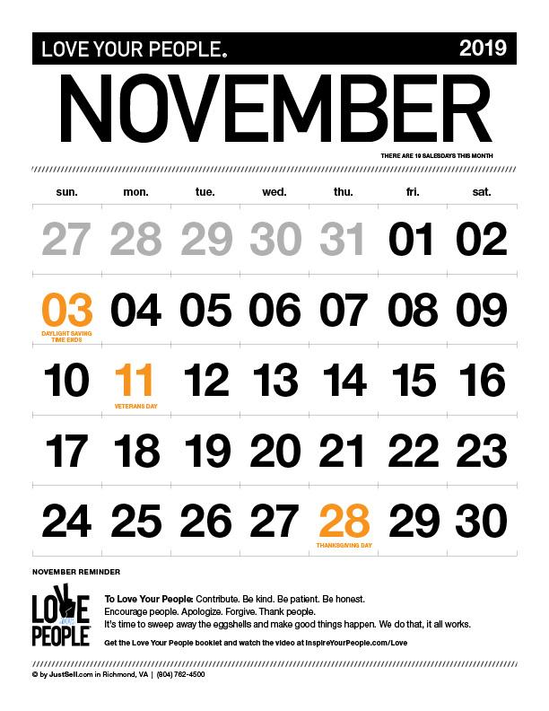 JustSell.com Monthly Calendar November 2019