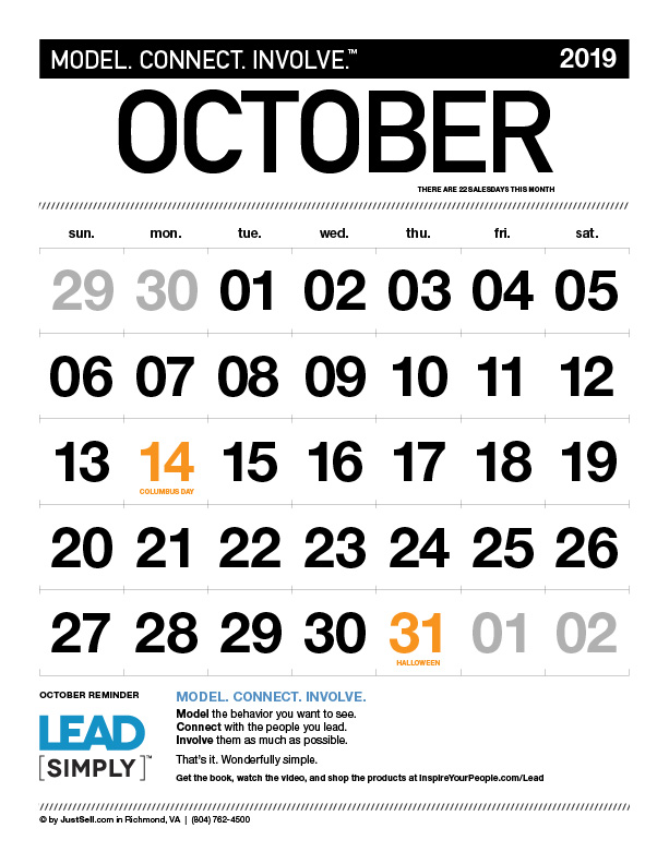 JustSell.com Monthly Calendar October 2019