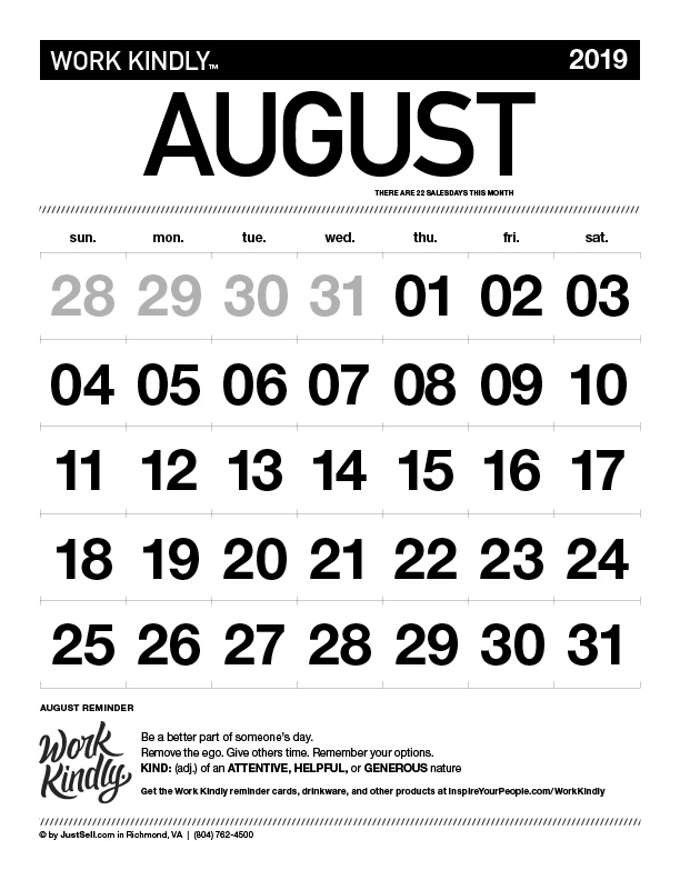 JustSell.com Monthly Calendar August 2019