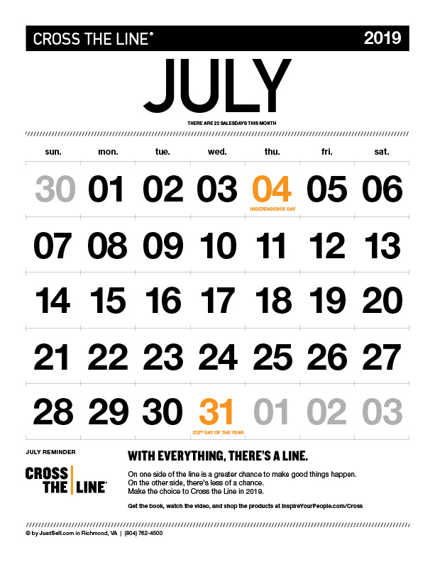 InspireYourPeople.com Monthly Calendar July 2019