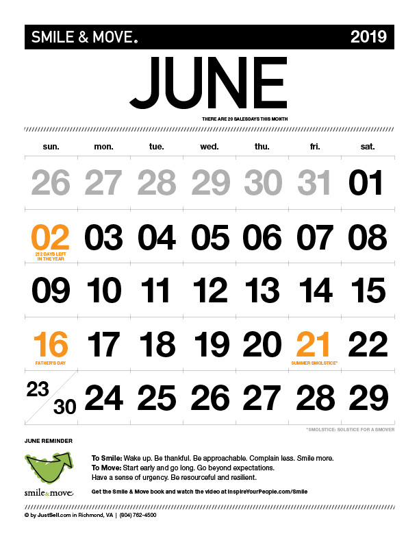 InspireYourPeople.com Monthly Calendar June 2019