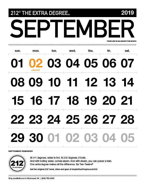 InspireYourPeople.com Monthly Calendar September 2019